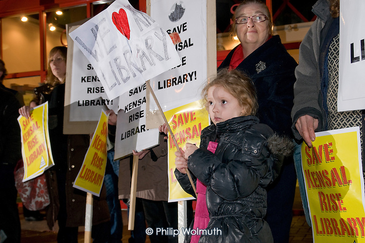Protest outside a Brent Council consultation meeting at Queen's Park Community School, by opponents of the proposed closure of Kensal Rise library, one of six libraries in the borough threatened with closure as a result of  government spending cuts.