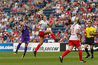 Bridgeview, IL - Saturday July 22, 2017: Camila Martins Pereira, Morgan Proffitt during a regular season National Women's Soccer League (NWSL) match between the Chicago Red Stars and the Orlando Pride at Toyota Park. The Red Stars won 2-1.