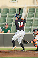 Ryan Leonards (12) of the Kannapolis Intimidators at bat against the Delmarva Shorebirds at CMC-NorthEast Stadium on July 2, 2014 in Kannapolis, North Carolina.  The Intimidators defeated the Shorebirds 6-4. (Brian Westerholt/Four Seam Images)