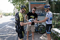 DS Matt Wilson filling the bidons with fresh water for European Champion Matteo Trentin (ITA/Mitchelton-Scott) & Michael Hepburn (AUS/Mitchelton-Scott) during  a VERY hot (35°C) rest day 2 training ride with Team Mitchelton-Scott <br /> <br /> restday 2<br /> 106th Tour de France 2019 (2.UWT)<br /> <br /> ©kramon