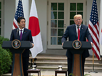 United States President Donald J. Trump and Japanese Prime Minister Shinzo Abe hold a news conference at the White House in Washington, DC, June 7, 2018. <br /> CAP/MPI/RS<br /> &copy;RS/MPI/Capital Pictures