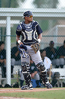 New York Yankees catcher Alvaro Noriega (25) during an Instructional League game against the Pittsburgh Pirates on September 18, 2014 at the Pirate City in Bradenton, Florida.  (Mike Janes/Four Seam Images)