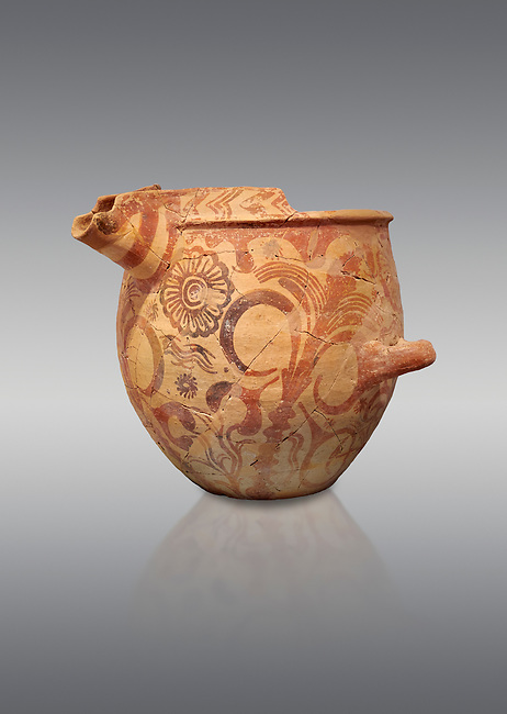 Minoan bridge spouted jars decorated with flowers, Archanes Palace  1600-1450 BC; Heraklion Archaeological  Museum, grey background.