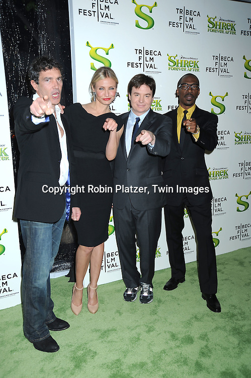 "Antonio Banderas, Cameron Diaz, Mike Meyers and Eddie Murphy arriving at The ""Shrek Forever After"" world premiere at The opening night of The Tribeca Film Festival on April 21, 2010 at The Ziegfeld Theatre in New York City. The movie stars Cameron Diaz, Mike Meyers, Eddie Murphy and Antonio Banderas."
