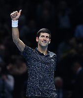 Novak Djokovic of Serbia after winning his round robin match against Marin Cilic of Croatia <br /> <br /> Photographer Rob Newell/CameraSport<br /> <br /> International Tennis - Nitto ATP World Tour Finals Day 6 - O2 Arena - London - Friday 16th November 2018<br /> <br /> World Copyright &copy; 2018 CameraSport. All rights reserved. 43 Linden Ave. Countesthorpe. Leicester. England. LE8 5PG - Tel: +44 (0) 116 277 4147 - admin@camerasport.com - www.camerasport.com