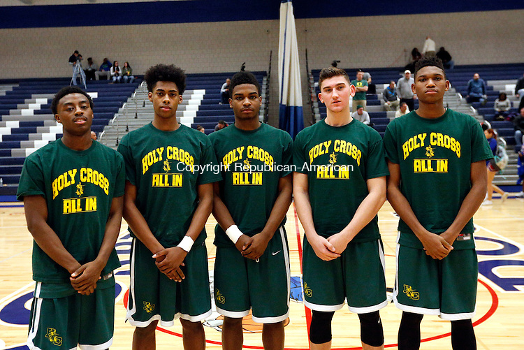 Waterbury, CT- 13 January 2016-011316CM10-  Holy Cross basketball team before their matchup against Crosby.  Christopher Massa Republican-American
