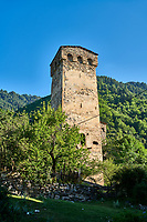 Stone medieval Svaneti tower houses of soli village, Upper Svaneti, Samegrelo-Zemo Svaneti, Mestia, Georgia.  A UNESCO World Heritage Site.