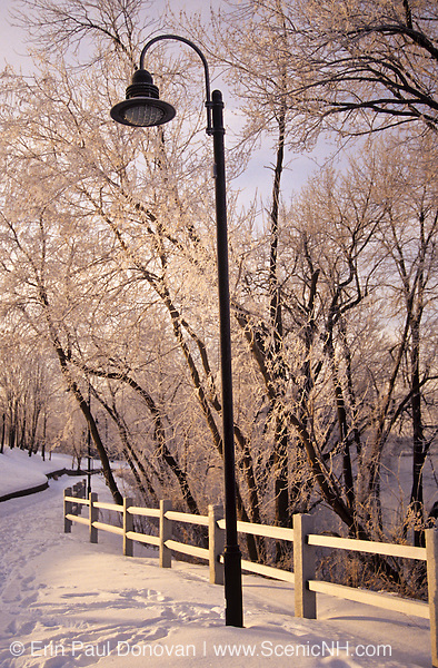 Snow covered path at the Merrimack River Park South Parcel in Manchester, New Hampshire USA. This view no longer exists because of improvements to the park.