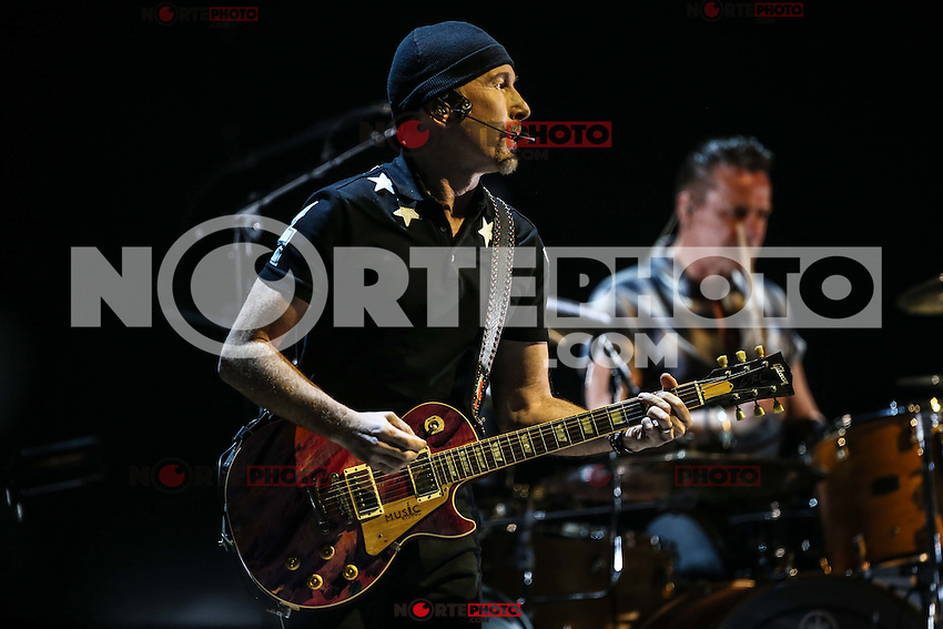 The rock band U2 during their world tour Innocence + Experience 2015 in the Airways Center in Phoenix, AZ. on May 22.<br /> U2 originally from Dublin Ireland, formed in 1976 by Bono (vocals), The Edge (guitar), Adam Clayton (bass), and Larry Mullen (drums).<br /> Photo:Luis Gutierrez/NortePhoto.com