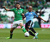 June 4th 2017, Aviva Stadium, Dublin, Ireland; International Friendly, Ireland versus Uruguay;  Robbie Brady of Ireland tackles  Egidio Arévalo Rios of Uruguay