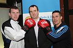 Trainers, Fergal Fagan and Damien McKenna with Aogan Dunne of the City North Hotel at the Launch of the White Collar Boxing Event...Picture Jenny Matthews/Newsfile.ie