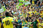 Norwich City 2 Middlesbrough 0, 25/05/2015. Wembley Stadium, Championship Play Off Final. Cameron Jerome celebrates in front of the Norwich supporters. A match worth £120m to the victors. On the day Norwich City secured an instant return to the Premier League with victory over Middlesbrough in front of 85,656. Photo by Simon Gill.