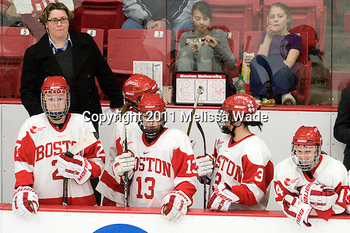 Tara Watchorn (BU - 27), Katie Lachapelle (BU - Assistant Coach), Kaleigh Fratkin (BU - 13), Kasey Boucher (BU - 3), Shannon Mahoney (BU - 14) - The Boston University Terriers defeated the visiting Mercyhurst College Lakers 4-2 in their NCAA Quarterfinal matchup on Saturday, March 12, 2011, at Walter Brown Arena in Boston, Massachusetts.