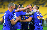The Phoenix celebrate Liberato Cacace's goal during the A-League football match between Wellington Phoenix and Western United FC at Sky Stadium in Wellington, New Zealand on Friday, 21 February 2020. Photo: Dave Lintott / lintottphoto.co.nz