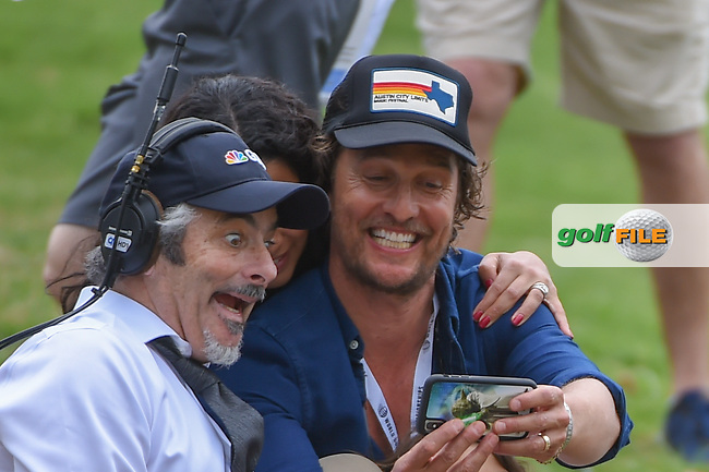 Announcer David Feherty takes a selfie with Matthew mcconaughey during day 5 of the World Golf Championships, Dell Match Play, Austin Country Club, Austin, Texas. 3/25/2018.<br /> Picture: Golffile | Ken Murray<br /> <br /> <br /> All photo usage must carry mandatory copyright credit (© Golffile | Ken Murray)