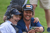 Announcer David Feherty takes a selfie with Matthew mcconaughey during day 5 of the World Golf Championships, Dell Match Play, Austin Country Club, Austin, Texas. 3/25/2018.<br /> Picture: Golffile | Ken Murray<br /> <br /> <br /> All photo usage must carry mandatory copyright credit (&copy; Golffile | Ken Murray)