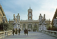 Italy: Rome--Steps to the Campidoglio. Statues of Nestor & Pollux (Dioscuri), late Empire. Photo '83.