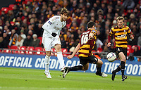 Pictured: Michu (L) and Carl McHugh (R). Sunday 24 February 2013<br /> Re: Capital One Cup football final, Swansea v Bradford at the Wembley Stadium in London.