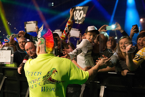 28.04.2016. Barclaycard Arena, Birmingham, England. Betway PDC Premier League Darts. Night 13. Peter Wright meets his fans.