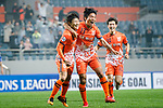 Jeju United Forward Hwang Ilsu (L) celebrating his score with Jeju United Defender Chung Woon (R) during the AFC Champions League 2017 Group H match Between Jeju United FC (KOR) vs Gamba Osaka (JPN) at the Jeju World Cup Stadium on 09 May 2017 in Jeju, South Korea. Photo by Marcio Rodrigo Machado / Power Sport Images