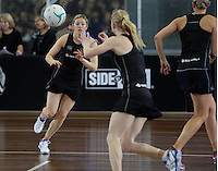 06.10.2013 Silver Fern Anna Thompson in action during the Silver Ferns training in Melbourne, Australia. Mandatory Photo Credit ©Michael Bradley.