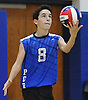 Jeremy Ettlinger #8 of Port Washington serves during a Nassau County varsity boys volleyball match against Bellmore JFK at Port Washington High School on Monday, Oct. 17, 2016. Port Washington won in straight sets; 25-23, 25-21, 25-15.