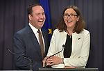 Cecilia Malmstrom, Trade Commissioner of the European Union (R), laughs with Steven Ciobo, Australian Minister of Trade (L), at Parliament House, Canberra, Monday, June 18, 2018.