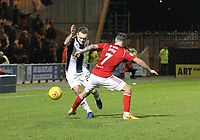 Lee Hodson gets the better of Dougie Imrie in the St Mirren v Hamilton Academical Scottish Professional Football League Ladbrokes Premiership match played at the Simple Digital Arena, Paisley on 1.12.18.