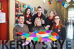 Transition Year students from Mean Scoil Nua an Leith Triuigh have set up a business making fish keyrings out of plastic waste found on the beach. Pictured were: Huw Roberts (Maharees Conservation Association), Edel O'Connor (Teacher) with students Emma McKenna, Aoife Naessens, Aidan Dowd and Rachel O'Connor.