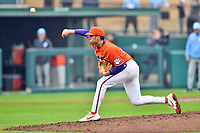 Clemson Tigers starting pitcher Davis Sharpe (30) delivers a pitch during a game against the North Carolina Tar Heels at Doug Kingsmore Stadium on March 9, 2019 in Clemson, South Carolina. The Tigers defeated the Tar Heels 3-2 in game one of a double header. (Tony Farlow/Four Seam Images)