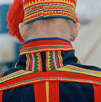 A Sami man in Gatki, traditional dress, in Lapland, Sweden