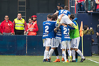 SADAR, PAMPLONA, SPAIN: The Football League, CA Osasuna vs Tenerife; The Tenerife team celebrates the only goal of the match of the League 123, on April 1, 2018
