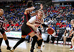 SIOUX FALLS, SD - MARCH 7: Taylor Frederick #15 of the South Dakota Coyotes tries to get past the defense of Mariah Murdie #33 of the Omaha Mavericks at the 2020 Summit League Basketball Championship in Sioux Falls, SD. (Photo by Dave Eggen/Inertia)