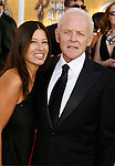 LOS ANGELES, CA. - January 25: Actor Sir Anthony Hopkins and guest arrive at the 15th Annual Screen Actors Guild Awards held at the Shrine Auditorium on January 25, 2009 in Los Angeles, California.
