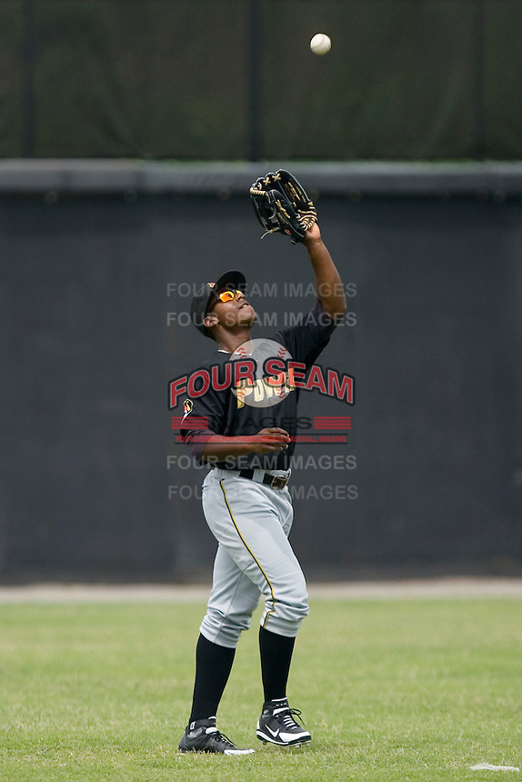 Left fielder Quincy Latimore #22 of the West Virginia Power settles under a fly ball at L.P. Frans Stadium June 21, 2009 in Hickory, North Carolina. (Photo by Brian Westerholt / Four Seam Images)
