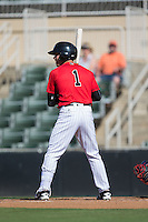 Danny Mendick (1) of the Kannapolis Intimidators at bat against the Greenville Drive at Intimidators Stadium on June 7, 2016 in Kannapolis, North Carolina.  The Drive defeated the Intimidators 4-1 in game one of a double header.  (Brian Westerholt/Four Seam Images)