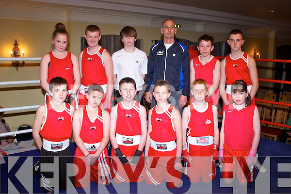 TOURNAMENT: The St Margaret's boxing club, Tralee who hosted a tournament with clubs from Dublin and Waterford at the Abbeygate hotel, Tralee on Saturday front l-r: Quin O'Halloran, Nathan O'Leary, Cillian Spillane, Richard McCarthy, Mikey Clifford and Jessica Moynihan. Back l-r: Nicole Sugrue, Paddy O'Brien, Gary Howard, Timmy Ward (coach), Ian Moynihan and Anthony Quilligan.
