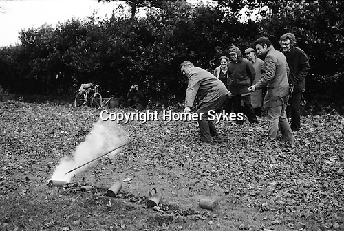 Firing the Fenny Poppers, Fenny Stratford, Buckinghamshire England 1973. November.