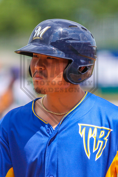 Wisconsin Timber Rattlers designated hitter Keston Hiura (15)  during a Midwest League game against the Cedar Rapids Kernels on August 6, 2017 at Fox Cities Stadium in Appleton, Wisconsin.  Cedar Rapids defeated Wisconsin 4-0. (Brad Krause/Krause Sports Photography)
