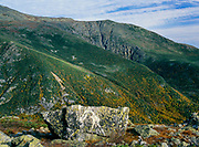 Huntington Ravine from Boott Spur Trail in Sargent's Purchase in the White Mountains, New Hampshire. Huntington Ravine is named for Joshua H. Huntington, the assistant to state geologist Charles H. Hitchcock (served as New Hampshire State Geologist from 1868 to 1878). Both men were members of an expedition that spent the 1870-1871 winter on Mount Washington. The purpose of this expedition was to observe and record the weather on Mount Washington.
