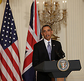 United States President Barack Obama speaks Monday, May 13, 2013 during a news conference with Prime Minister David Cameron of Great Britain at The White House in Washington, DC. .Credit: Chris Kleponis / CNP