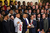 United States President Barack Obama (left) and Alabama Head Coach Nick Saban (right) stand for a photo with the team during a ceremony to honor the 2015- 2016 College Football Playoff National Champion Alabama Crimson Tide in the East Room at The White House in Washington, D.C., Wednesday, March 2, 2016. <br /> Credit: Rod Lamkey Jr. / Pool via CNP