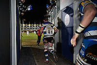 Bath Rugby captain Stuart Hooper leads his team out onto the field for the second half. Aviva Premiership match, between Bath Rugby and Sale Sharks on March 6, 2015 at the Recreation Ground in Bath, England. Photo by: Patrick Khachfe / Onside Images