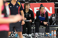 15.09.2012 Silver Ferns coach Waimarama Taumaunu and Assistant coach Noeline Taurua in action at training at the Hisense Arena In Melbourne ahead of the first netball test match between the Silver Ferns and Australia. Mandatory Photo Credit ©Michael Bradley.