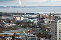General view of the SA1 and docks development in Swansea, Wales, UK. Wednesday 30 January 2019