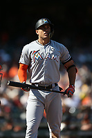 SAN FRANCISCO, CA - JULY 9:  Giancarlo Stanton #27 of the Miami Marlins bats against the San Francisco Giants during the game at AT&T Park on Sunday, July 9, 2017 in San Francisco, California. (Photo by Brad Mangin)