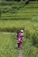 Children Walking through the Rice Paddies near Bungamati, Nepal