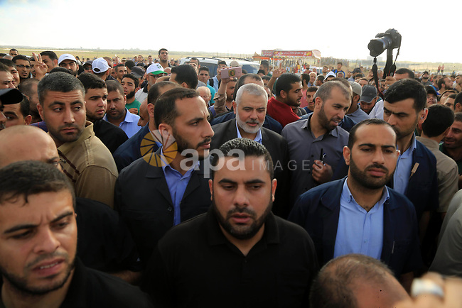 Palestinian Hamas Chief Ismail Haniyeh gestures during tents protest where Palestinians demanding the right to return to their homeland and against U.S. embassy move to Jerusalem at the Israel-Gaza border, at the Israel-Gaza border, in east of Gaza city on July 20, 2018. Photo by Dawoud Abo Alkas