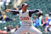 Toledo Mudhens relief pitcher Jose Ortega #43 delivers a pitch during a game against the Rochester Red Wings at Frontier Field on June 2, 2011 in Rochester, New York.  Rochester defeated Toledo 8-0.  Photo By Mike Janes/Four Seam Images