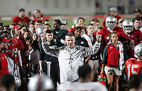 Head Coach Urban Meyer conducts practice at the Woody Hayes Athletic Center on April 11, 2015. Students were invited to the facility for the fourth annual Student Appreciation Practice .  (Chris Russell/Dispatch Photo)